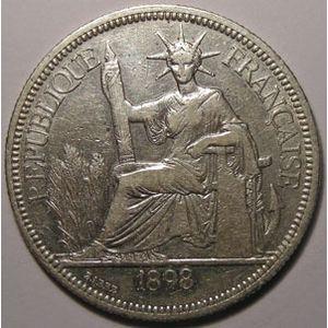 Indochine, Indochina, 1 Piastre 1898, TB+, Lecompte: 280