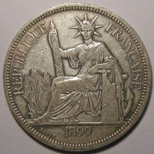 Indochine, Indochina, 1 Piastre 1899, TB+/TTB, Lecompte: 281