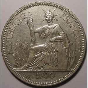 Indochine, Indochina, 1 Piastre 1900, TTB+, Lecompte: 282