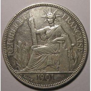 Indochine, Indochina, 1 Piastre 1901, TB+, Lecompte: 284