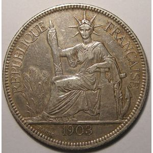 Indochine, Indochina, 1 Piastre 1903, TTB, Lecompte: 286