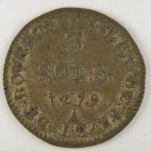 Isle de Bourbon et de France, 3 Sous 1779 A, KM# 1, TTB