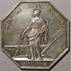 Jeton octogonal 30mm signé Dubois, Société d'Agriculture, Département de la Loire, 1828