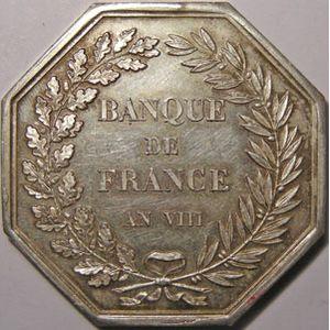 Jeton octogonal 36mm signé Dumarest, Banque de France an VIII