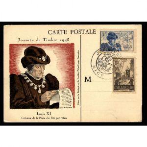 Journée du Timbre 1945 - NICE - Louis XI Créateur de la Poste du Roi par Relais