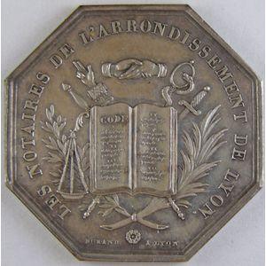 Les Notaires de l'Arrondissement de Lyon, argent 35mm, 14.46 Grs, signé Durand,  SUP