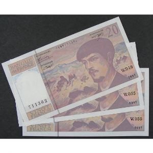 Lot de 3 x 20 Francs Debussy 1995-1997, SPL