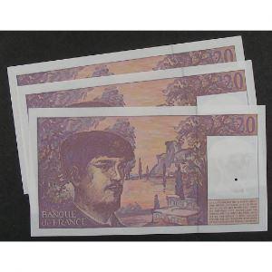 Lot de 3 x 20 Francs Debussy 1997, L.052, SPL
