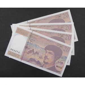 Lot de 4 x 20 Francs Debussy 1997, W.055, SPL