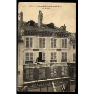 Lot de 5 CP NANCY - Chaussure Franck - Rue Saint Dizier - Bombardement 9 et 10 septembre 1914
