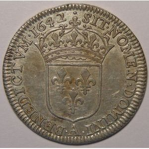 Louis XIII, 1/4 Ecu 1642 A Paris point, Gadoury: 47, TTB/TTB+