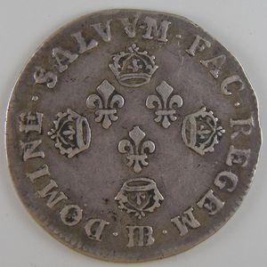 Louis XIV, 10 Sols aux 4 couronnes 1702 BB, TB+/TTB, Gadoury: 123