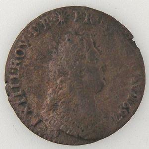 Louis XIV 1643-1715, Roi de France, Liard de France au buste âgé 1697 AA, TB+, Gad: 81