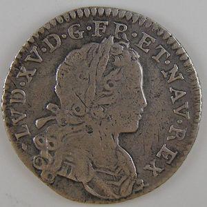 Louis XV, 1/12 Ecu de France-Navarre 1719 B, B+/TB, Gadoury: 287