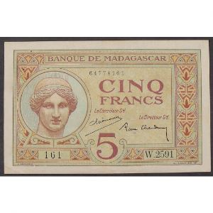 Madagascar, 5 Francs ND 1937, VF+