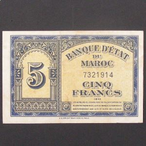 Maroc, 5 Francs 1.8.1943, VF+