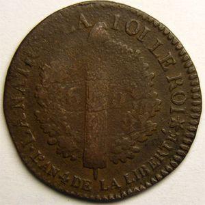 Monnaie de la révolution, 6 deniers type Français 1792 BB Strasbourg