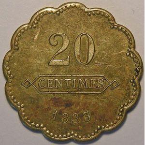 Monnaie de nécessité, Longwy, Aciéries de Longwy, 20 centimes 1883, TTB, Elie: 10.2