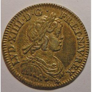 Monnaie dorée, Louis XIV, 1/12ème Ecu à la mèche courte 1644 A Rose , Gadoury: 111
