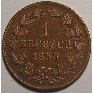Monnaie étrangère, Allemagne, Deutschland, Baden, 1 Kreuzer 1856