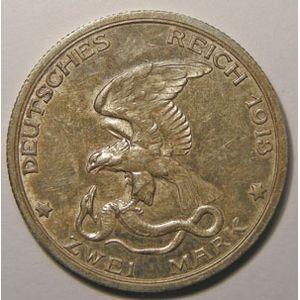 Monnaie étrangère, Allemagne, Germany, Empire Allemand, Preussen, 2 Mark 1913 A, SUP, AKS# 140
