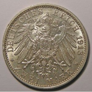 Monnaie étrangère, Allemagne, Germany, Empire Allemand, Preussen, 2 Mark 1913 A, SUP, AKS# 142