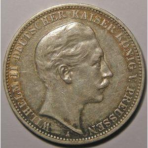 Monnaie étrangère, Allemagne, Germany, Empire Allemand, Preussen, 3 Mark 1908 A, TTB, AKS# 131