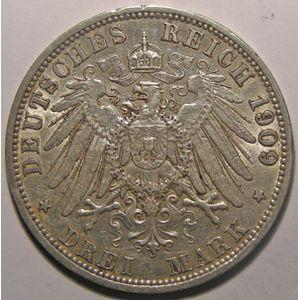 Monnaie étrangère, Allemagne, Germany, Empire Allemand, Preussen, 3 Mark 1909 A, TTB, AKS# 131