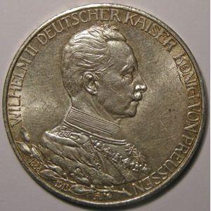 Monnaie étrangère, Allemagne, Germany, Empire Allemand, Preussen, 3 Mark 1913 A, TTB+/SUP, KM# 535