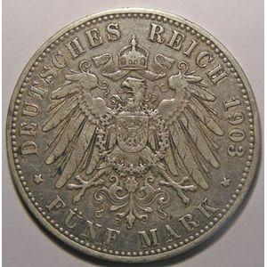 Monnaie étrangère, Allemagne, Germany, Empire Allemand, Preussen, 5 Mark 1903 A, TB+/TTB, AKS# 129