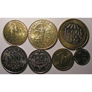 Monnaie étrangère, West Africa, 1-5-10-25-50-100-500 Francs Années différentes, Neuf