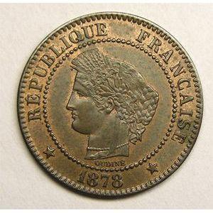 Monnaie française, Cérès, 2 centimes, 1878 A Paris