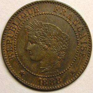 Monnaie française, Cérès, 2 centimes 1888 A   Paris