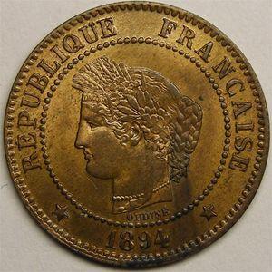 Monnaie française, Cérès, 2 centimes 1894 A  Paris