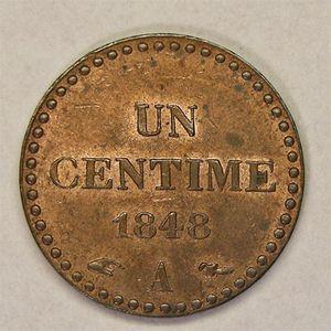 Monnaie française, Dupré, 1 centime, 1848 A Paris