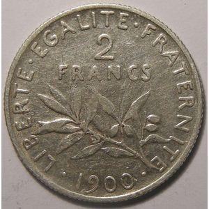 Monnaie française, Semeuse, 2 francs 1900, TB+, Gadoury: 532