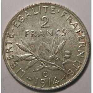 Monnaie française, Semeuse, 2 francs 1914 C, SUP, Gadoury: 532