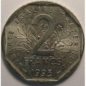 Monnaie française, Semeuse, 2 Francs 1993, SUP+, KM#942.1