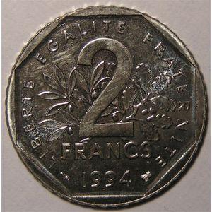 Monnaie française, Vème République, 2 francs, 1994 Abeille