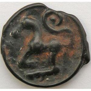 Monnaie Gauloise, Sequanes, Potin à la grosse tête laurée, 4.08 Grs, DT: 3095, TB+