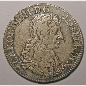 Monnaie Lorraine, duché de Lorraine, Charles IV (1661-1670), Teston 1667, Flon P 715