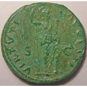 Monnaie romaine, empire romain, Domitien, Domitianus, As, R/ VIRTVTI AVGVSTI SC, 10.46 Grs, TTB