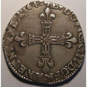 Monnaie royale, Louis XIII, 1/4 d'Ecu à la croix fleurdelisée