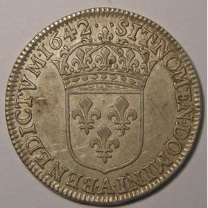 Monnaie royale, Louis XIII, 1/4 Ecu 1642 A Paris Variante 2 Points, Gadoury 48