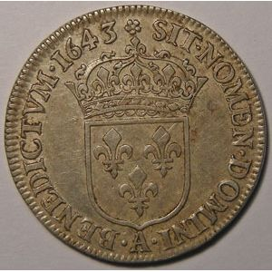 Monnaie royale, Louis XIII, 1/4 Ecu 1643 A Paris Variante Rose, Gadoury: 48