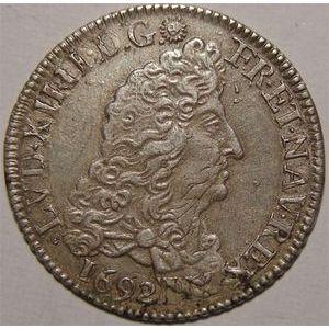 Monnaie royale, Louis XIV, 1/4 d'écu aux 8 L, 1692 9 Rennes
