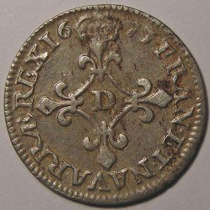 Monnaie royale, Louis XIV, 4 sols dits des traitants 1677 D, Gad: 103