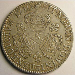 Monnaie royale, Louis XIV, écu aux 3 couronnes 1710 N Montpellier