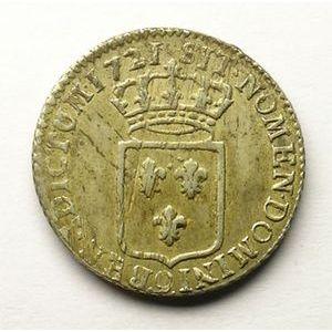 Monnaie royale, Louis XV 1/3 d'écu de France 1721 9 Rennes, Gadoury 306