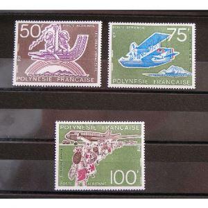 Polynésie Française, Poste Aérienne n°89-91 N** Cote 72€